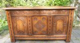 SOLD - Antique Style Carved Oak Blanket Chest